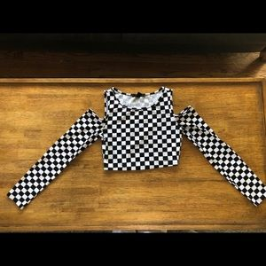 Checkered Cut-Out Crop Top